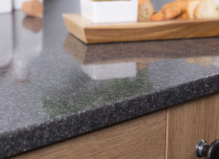 Acrylic Black Sparkle Worktops