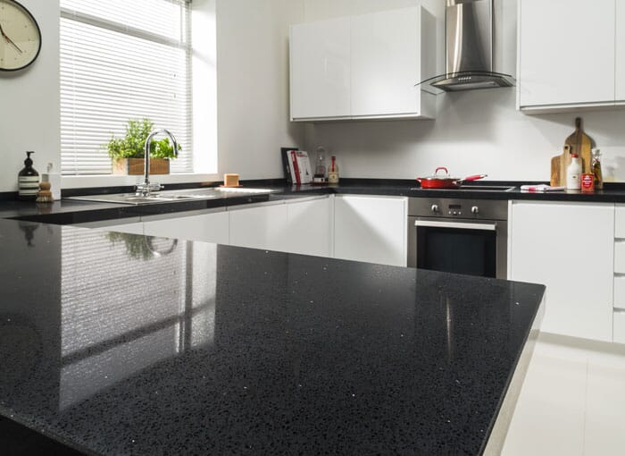 Solid Surface Black Sparkle Worktops